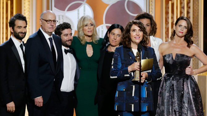 The cast of Transparent receiving the award for Best TV comedy